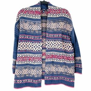 Chaps Open Cardigan Cotton Patterned Medium
